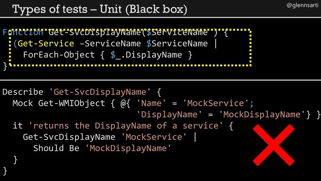@glennsarti Types of tests – Unit (Black box) F...