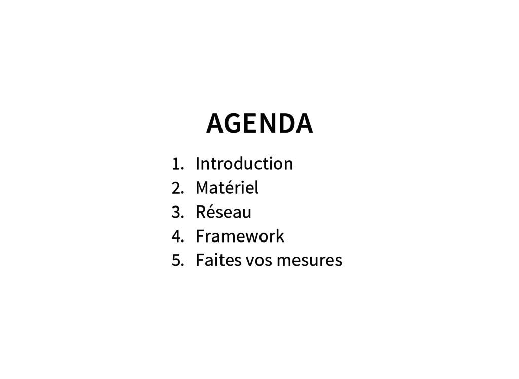 AGENDA 1. Introduction 2. Matériel 3. Réseau 4....