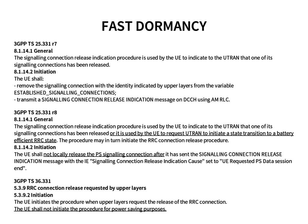 FAST DORMANCY 3GPP TS 25.331 r7 8.1.14.1 Genera...