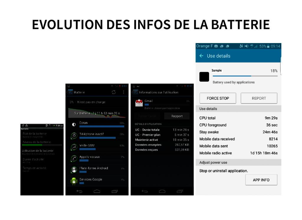 EVOLUTION DES INFOS DE LA BATTERIE