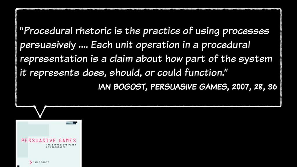 """Procedural rhetoric is the practice of using p..."