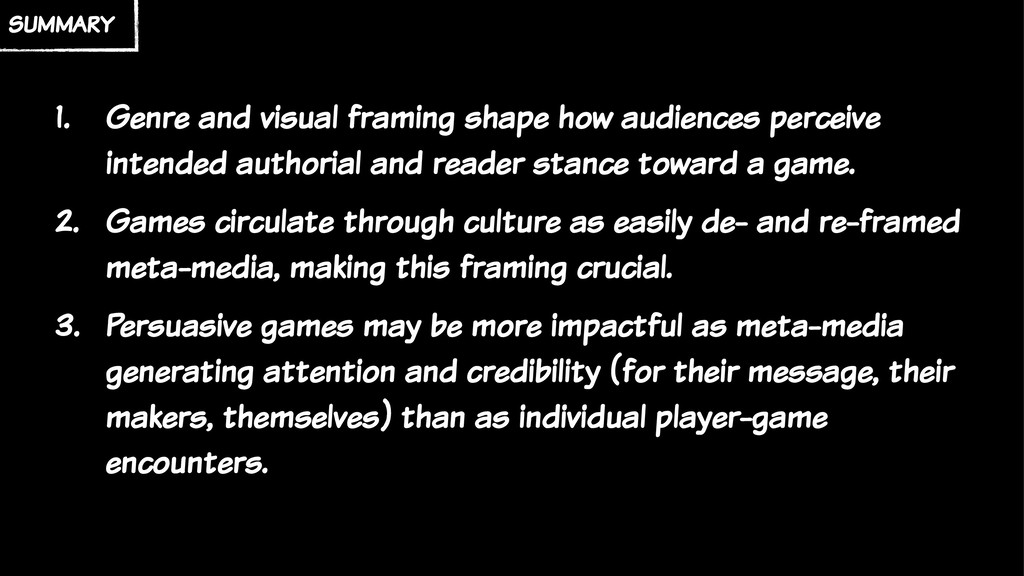 summary 1. Genre and visual framing shape how a...