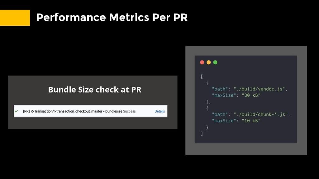 Performance Metrics Per PR Bundle Size check at...