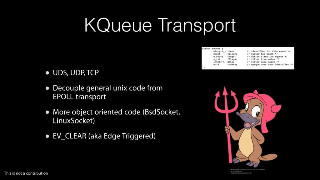 KQueue Transport UDS, UDP, TCP Decouple general...