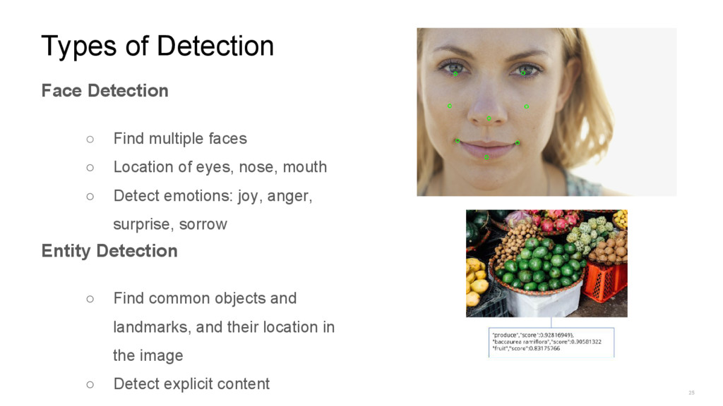 25 Types of Detection Face Detection ○ Find mul...
