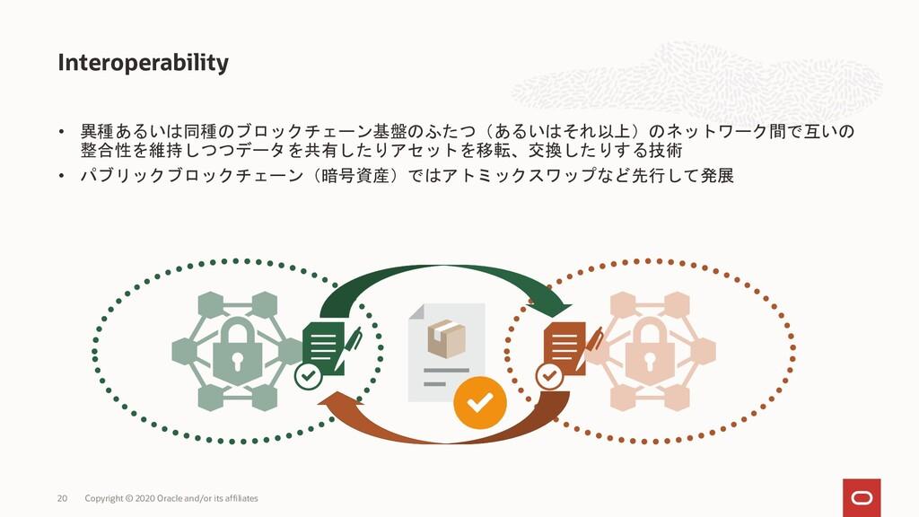 • 異種あるいは同種のブロックチェーン基盤のふたつ(あるいはそれ以上)のネットワーク間で互いの...