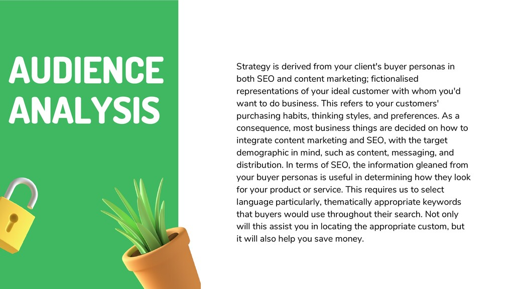 AUDIENCE ANALYSIS Strategy is derived from your...