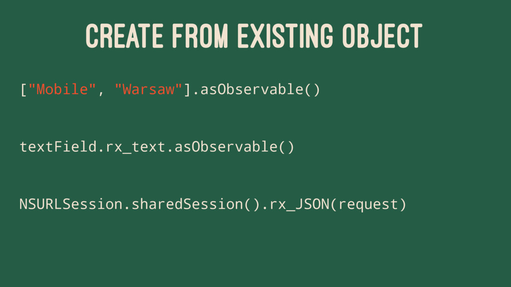 """CREATE FROM EXISTING OBJECT [""""Mobile"""", """"Warsaw""""..."""