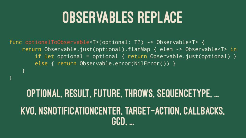 OBSERVABLES REPLACE func optionalToObservable<T...
