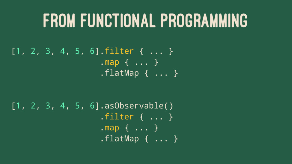FROM FUNCTIONAL PROGRAMMING [1, 2, 3, 4, 5, 6]....