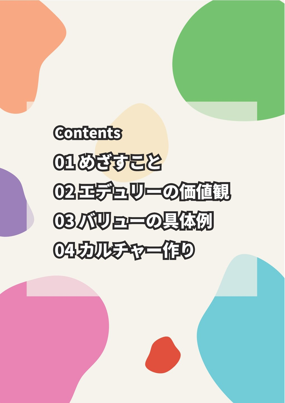 01 めざすこと 02 エデュリーの価値観 03 バリューの具体例 04 カルチャー作り 01...
