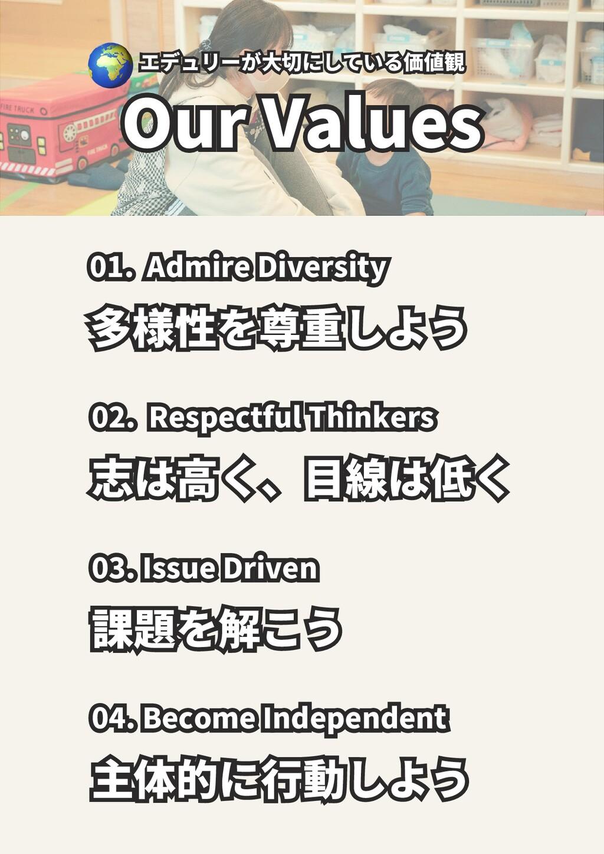 エデュリーが大切にしている価値観 エデュリーが大切にしている価値観 Our Values Ou...