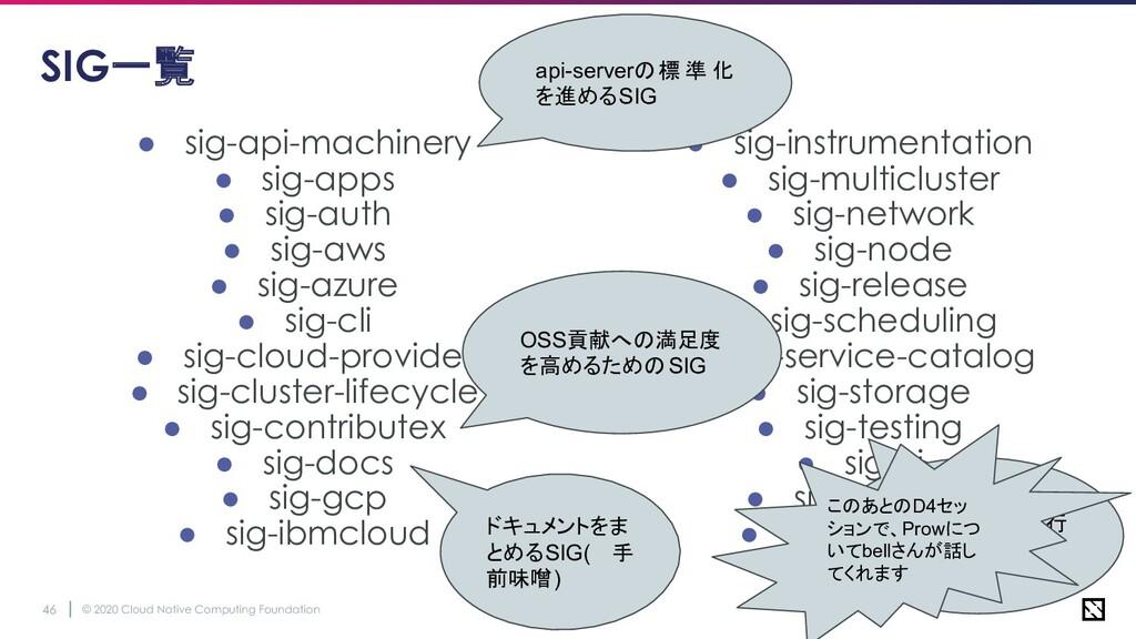 © 2020 Cloud Native Computing Foundation 46 SIG...