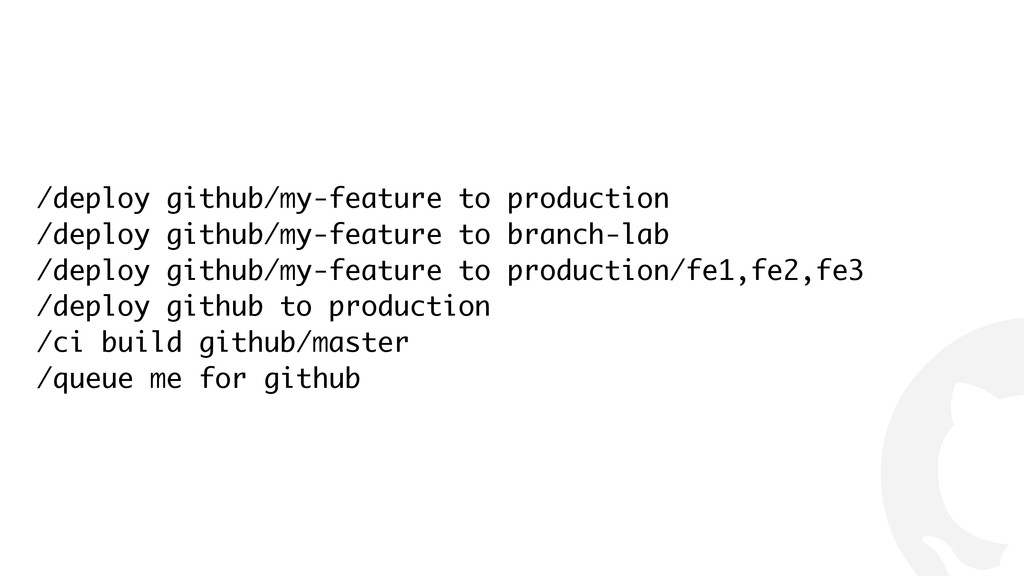 ! /deploy github/my-feature to production /depl...