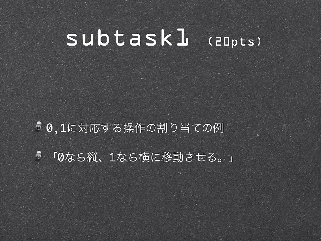 0,1ʹରԠ͢Δૢ࡞ͷׂΓͯͷྫ ʮ0ͳΒॎɺ1ͳΒԣʹҠಈͤ͞Δɻʯ subtask1 (...