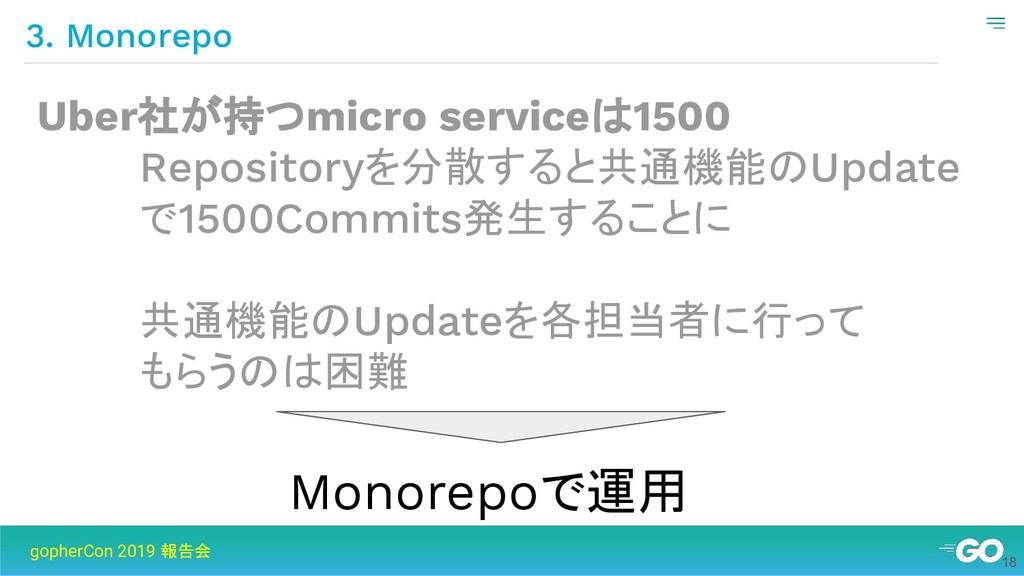 3. Monorepo gopherCon 2019 報告会 Uber社が持つmicro se...