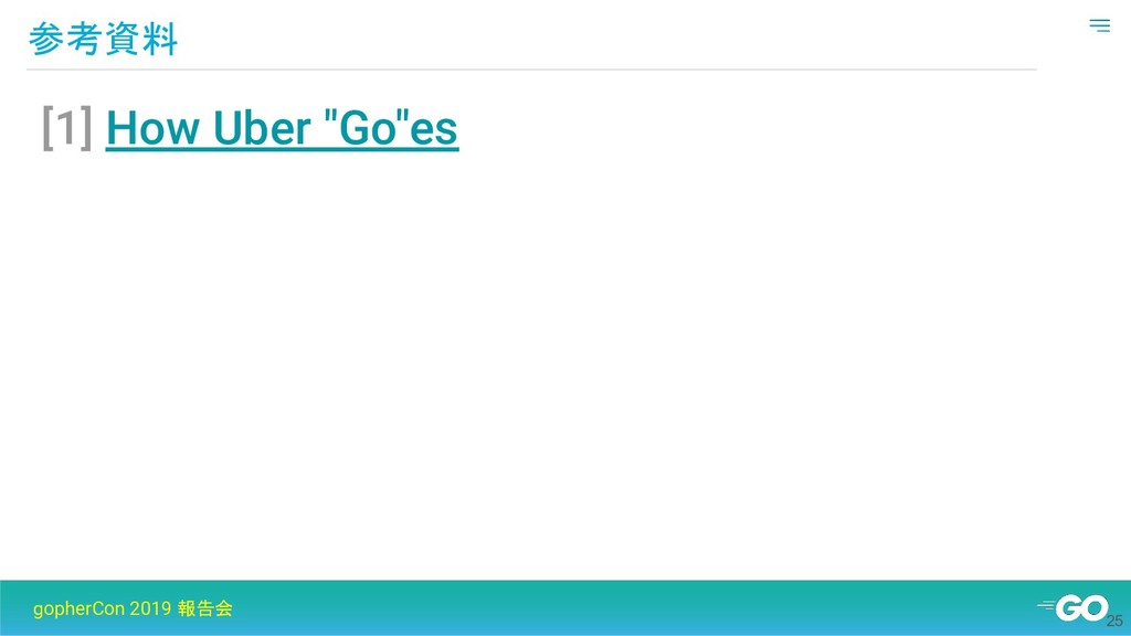 """参考資料 gopherCon 2019 報告会 [1] How Uber """"Go""""es 25"""