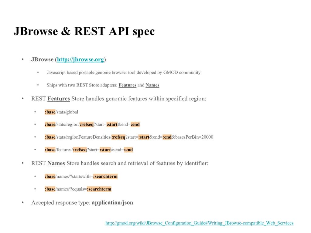 JBrowse & REST API spec • JBrowse (http://jbrow...