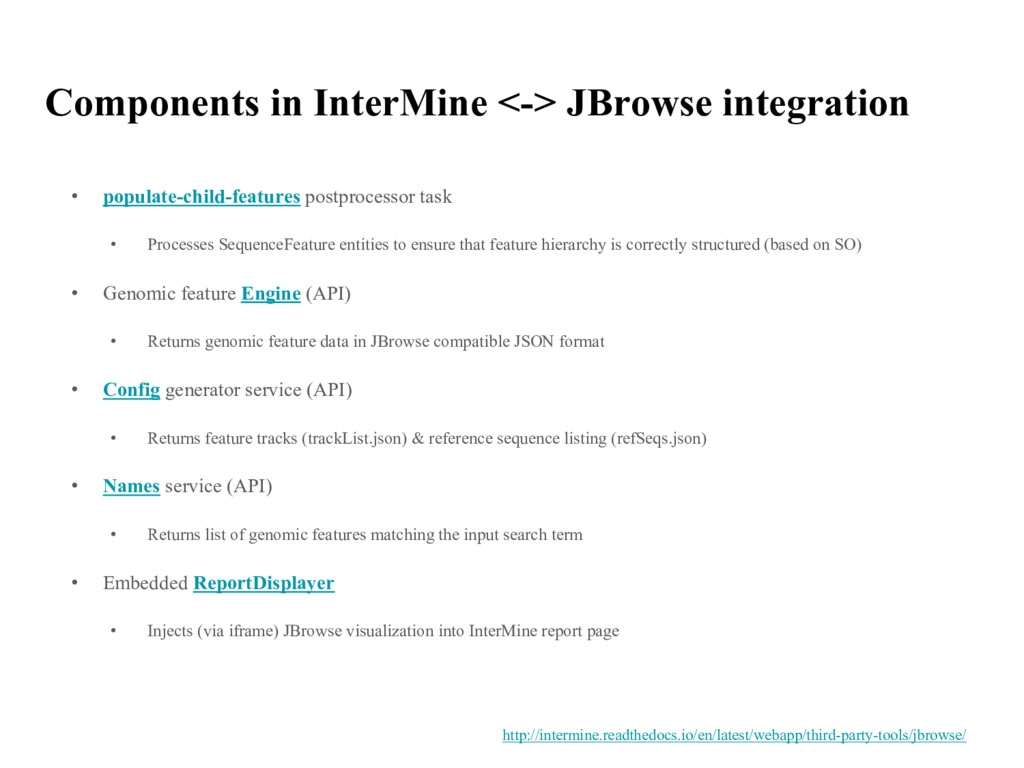 Components in InterMine <-> JBrowse integration...