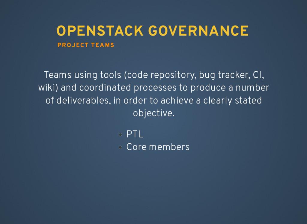 PROJECT TEAMS OPENSTACK GOVERNANCE Teams using ...