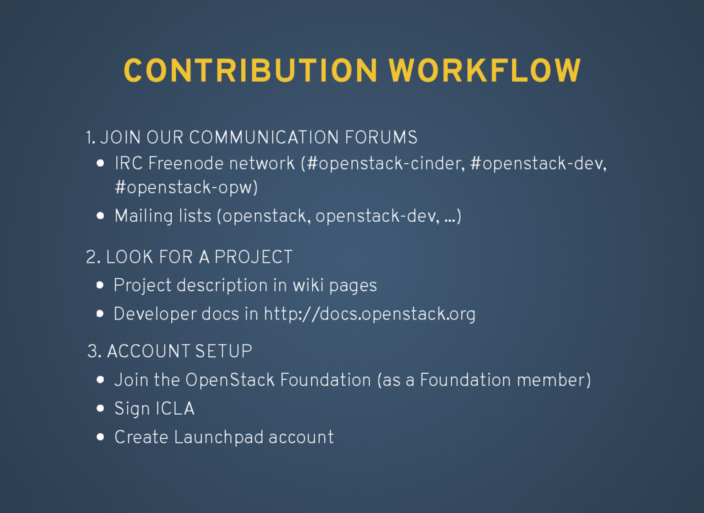 CONTRIBUTION WORKFLOW 1. JOIN OUR COMMUNICATION...
