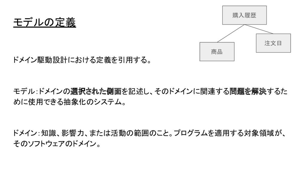 モデルの定義 ドメイン駆動設計における定義を引用する。 モデル:ドメインの選択された側面を記述...
