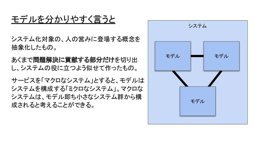 モデルを分かりやすく言うと システム化対象の、人の営みに登場する概念を 抽象化したもの。 あく...