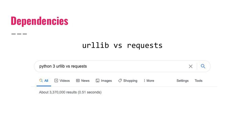 Dependencies urllib vs requests