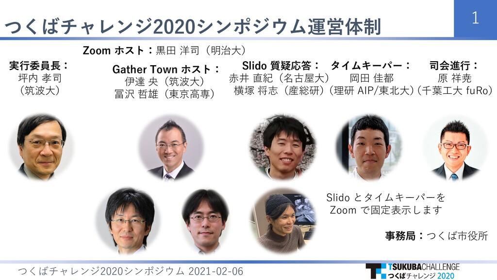 つくばチャレンジ2020シンポジウム運営体制 1 つくばチャレンジ シンポジウム 2020 2...