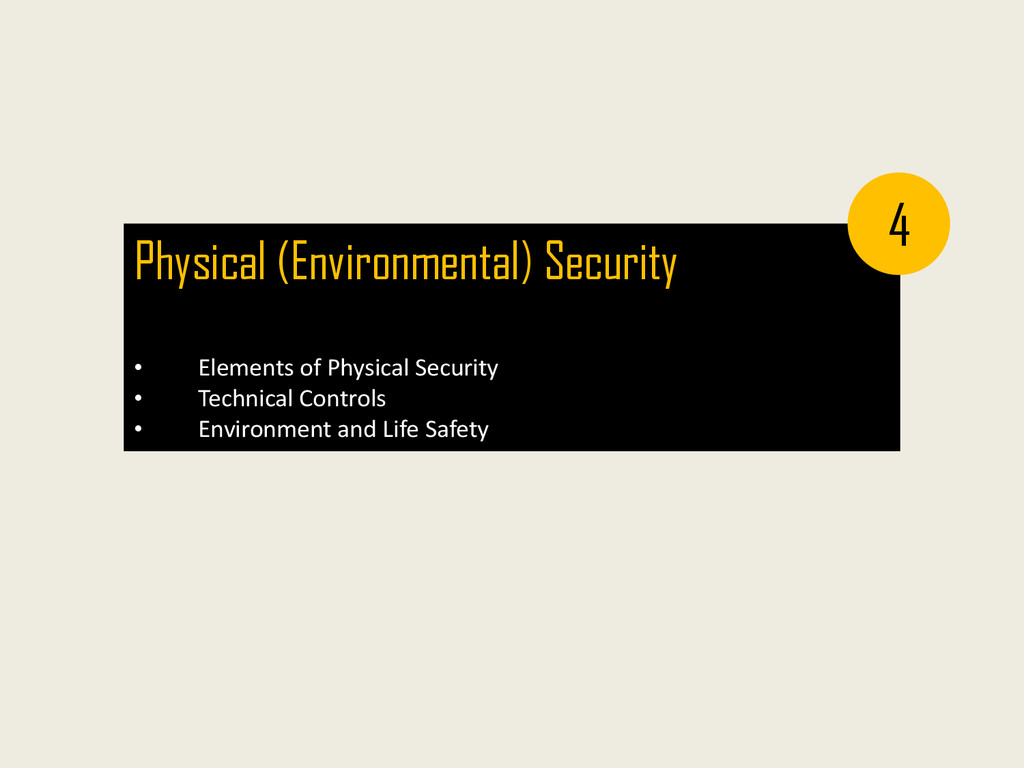 Physical (Environmental) Security • Elements of...