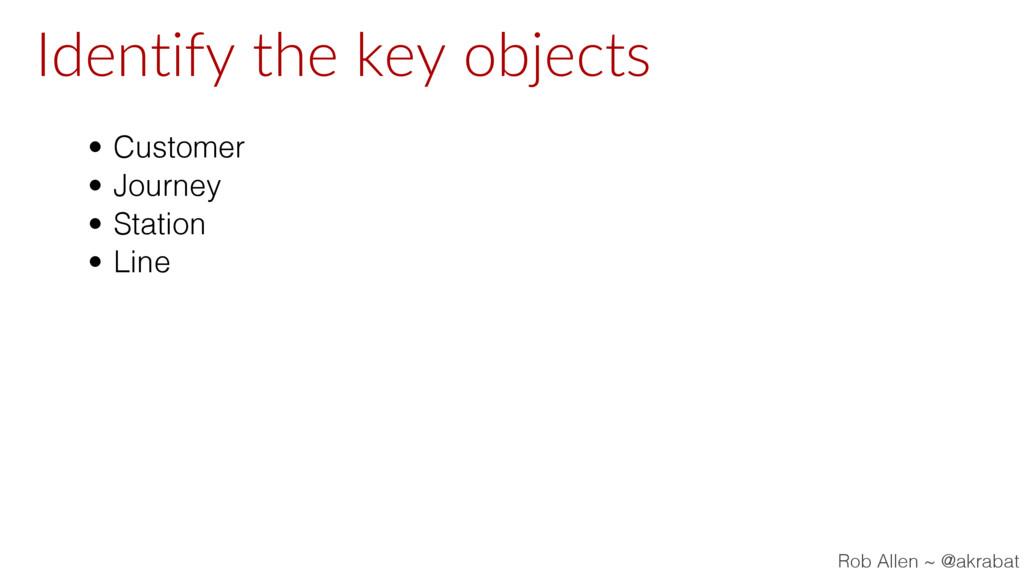 Identify the key objects • Customer • Journey •...