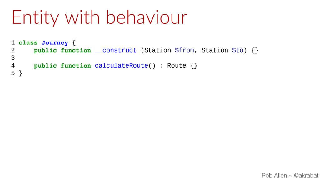 Entity with behaviour 1 class Journey { 2 publi...