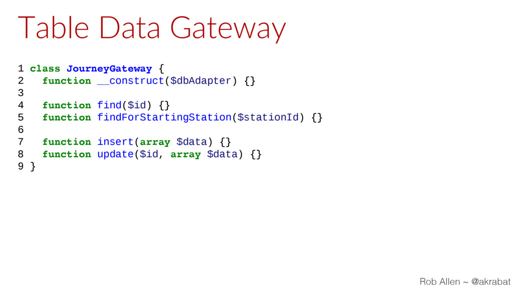 Table Data Gateway 1 class JourneyGateway { 2 f...