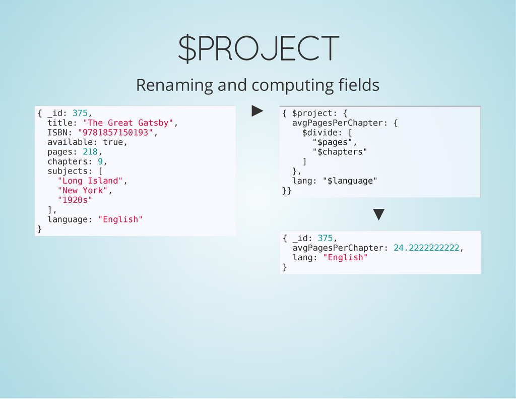 $PROJECT Renaming and computing fields { _ i d ...