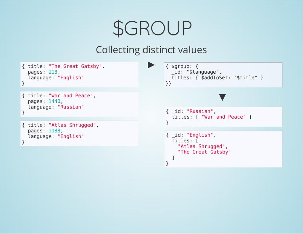 $GROUP Collecting distinct values { t i t l e :...