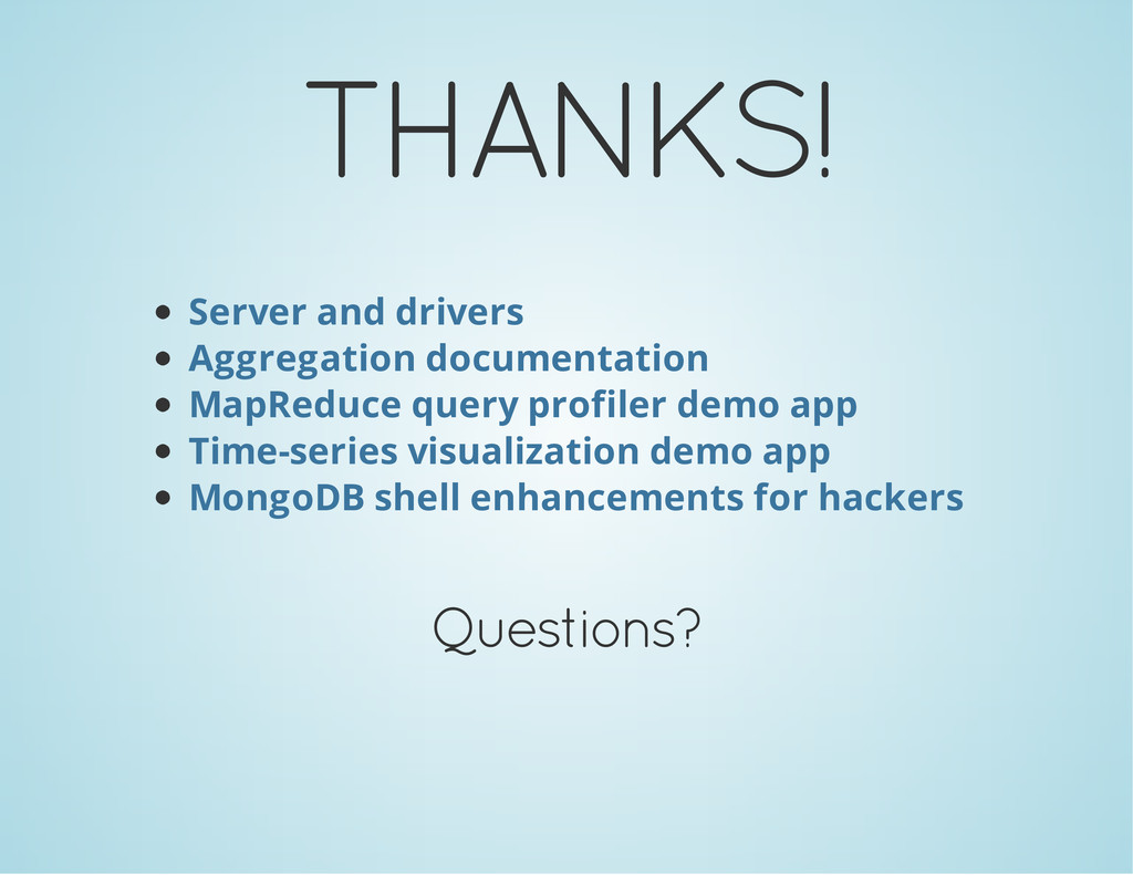THANKS! Server and drivers Aggregation document...