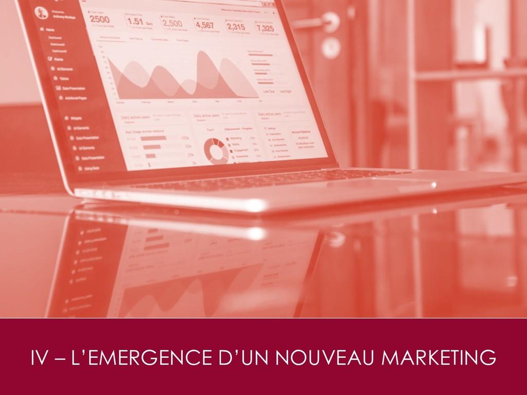 IV – L'EMERGENCE D'UN NOUVEAU MARKETING