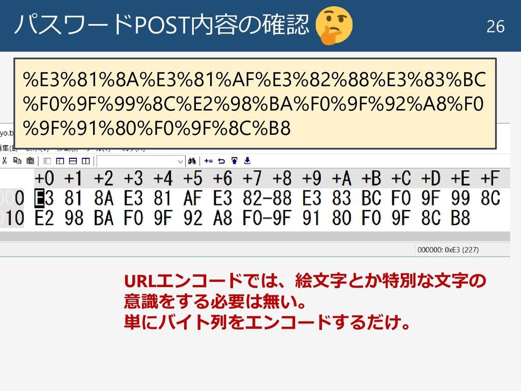 パスワードPOST内容の確認 26 URLエンコードでは、絵文字とか特別な文字の 意識をする必...