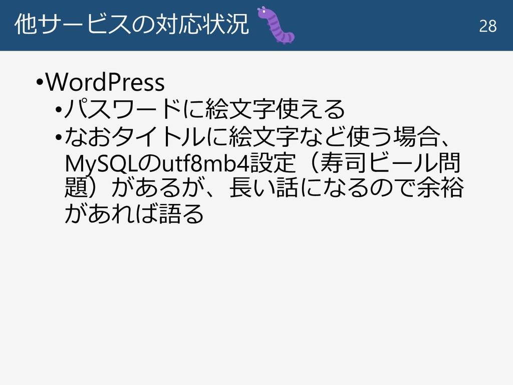 他サービスの対応状況 •WordPress •パスワードに絵文字使える •なおタイトルに絵文字...