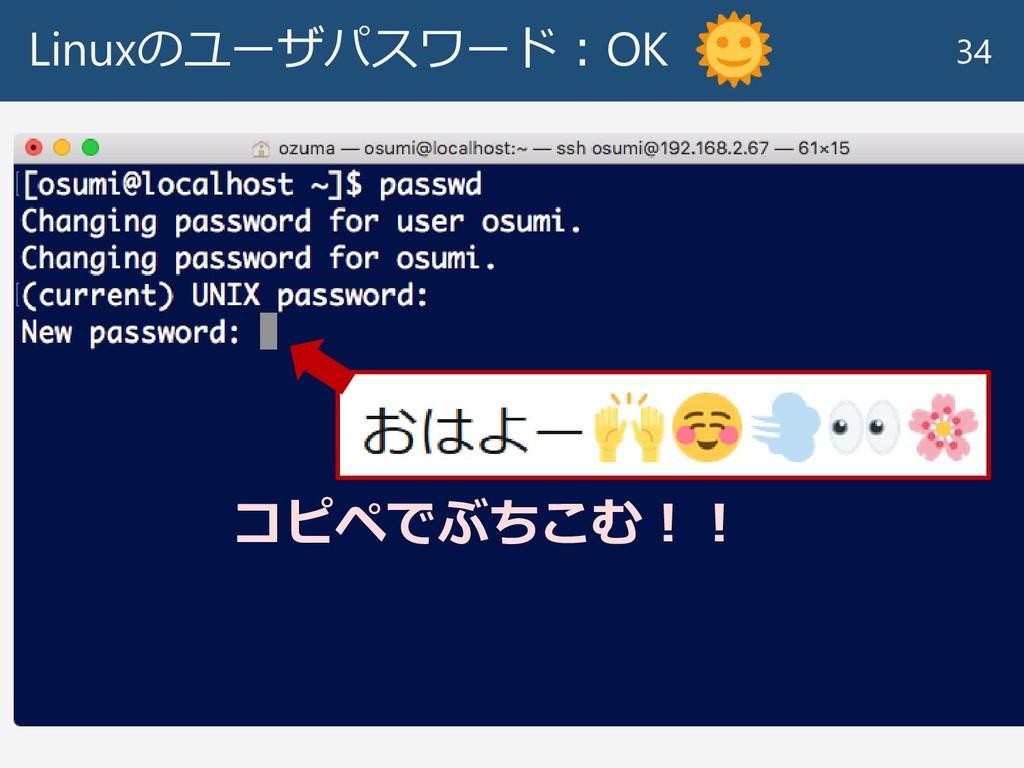 Linuxのユーザパスワード:OK 34 コピペでぶちこむ!!