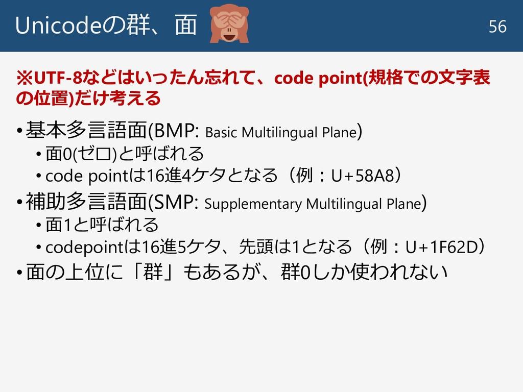 Unicodeの群、面 •基本多言語面(BMP: Basic Multilingual Pla...