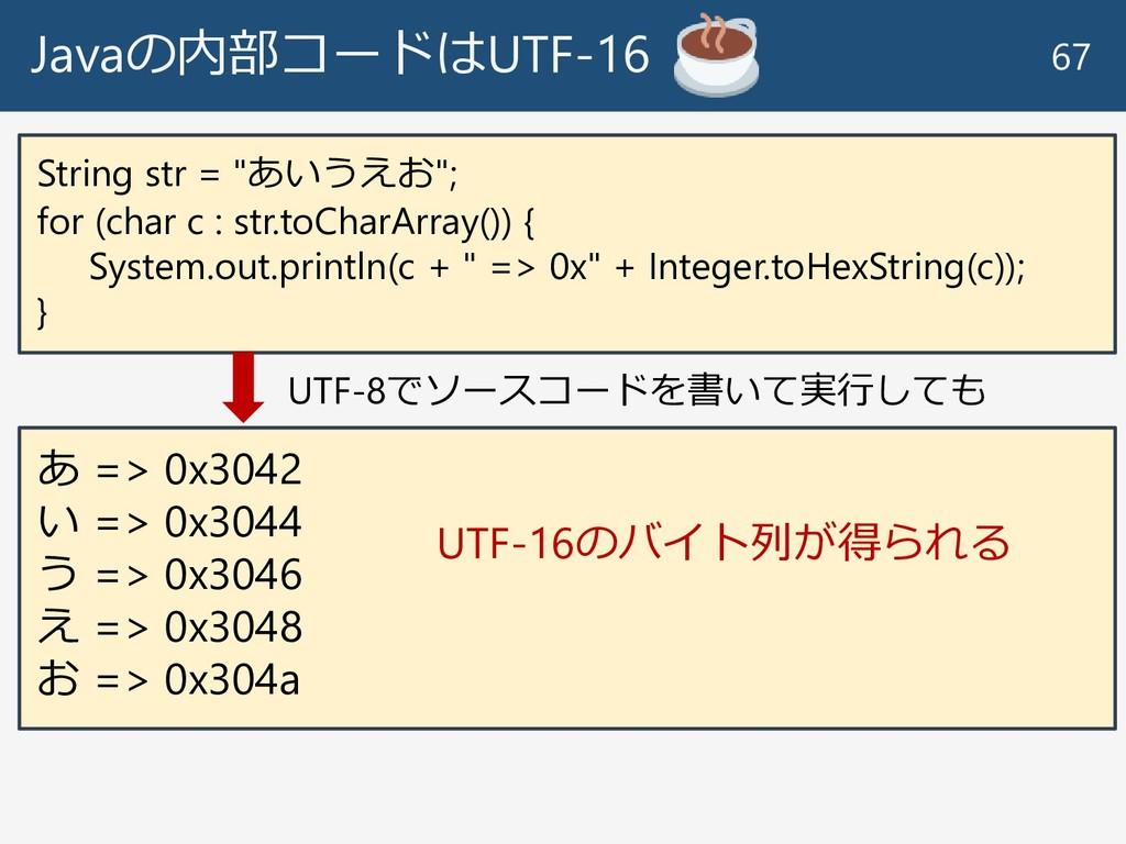 "Javaの内部コードはUTF-16 67 String str = ""あいうえお""; for ..."
