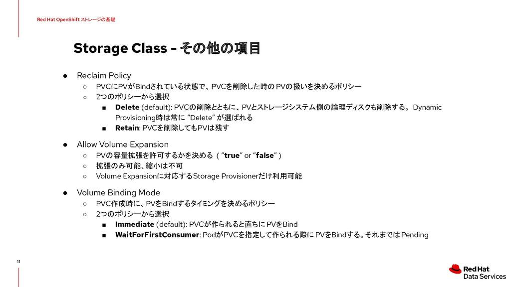 Storage Class - その他の項目 11 ● Reclaim Policy ○ PV...