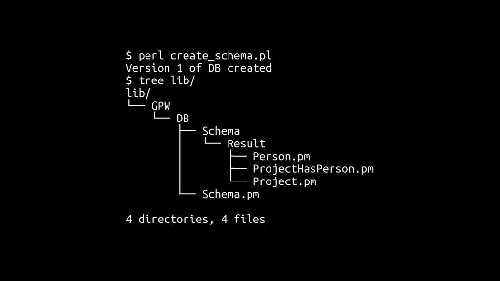 $ perl create_schema.pl Version 1 of DB created...