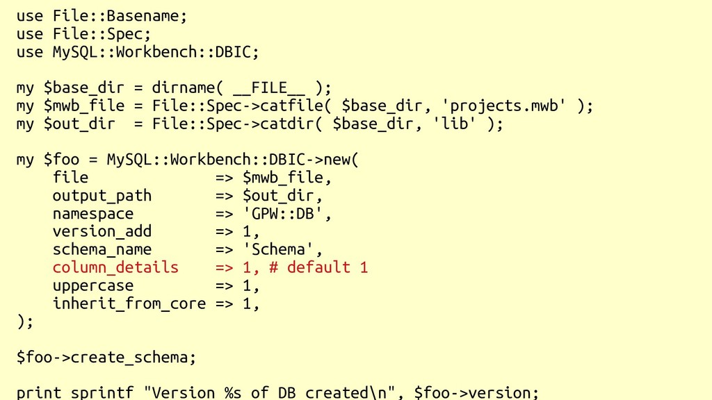 use File::Basename; use File::Spec; use MySQL::...