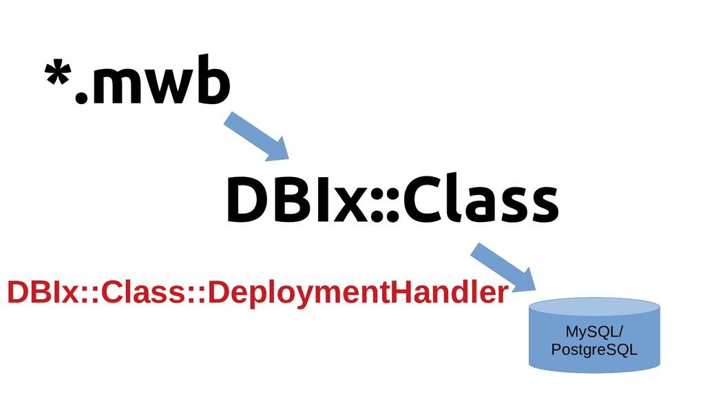 *.mwb DBIx::Class MySQL/ PostgreSQL DBIx::Class...