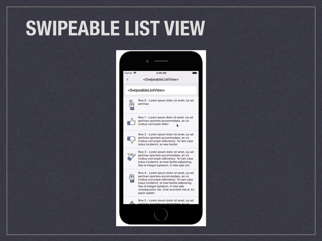 SWIPEABLE LIST VIEW
