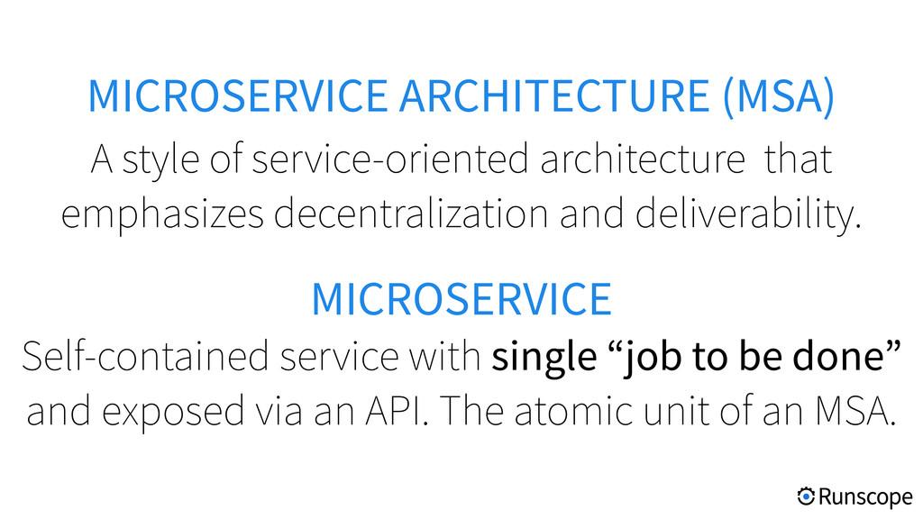 MICROSERVICE ARCHITECTURE (MSA) A style of serv...