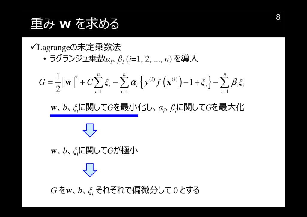 重み w を求める Lagrangeの未定乗数法 • ラグランジュ乗数αi 、βi (i=1,...