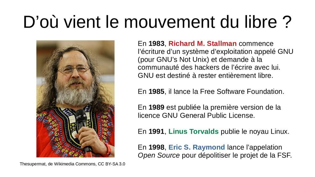 D'où vient le mouvement du libre ? Thesupermat,...